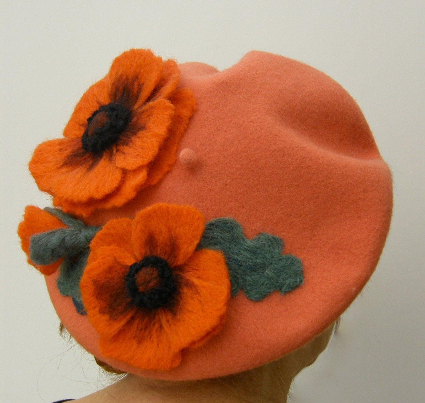 FRENCH BERET....CALIFORNIA DREAMER'... ORANGE POPPY FLOWERS...FREE Worldwide Shipping
