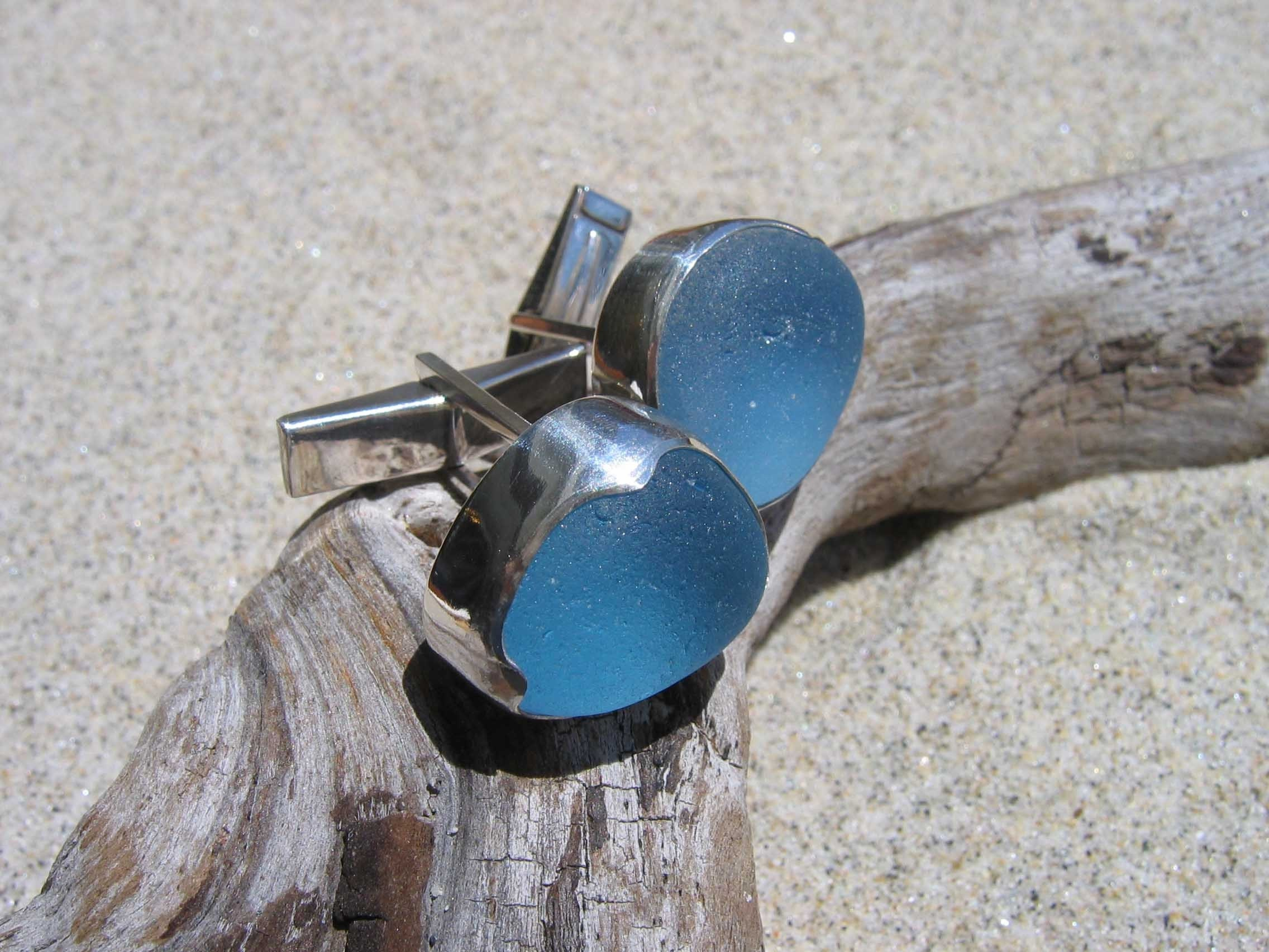 Genuine English Sea Glass Cufflinks in Cornflower Blue