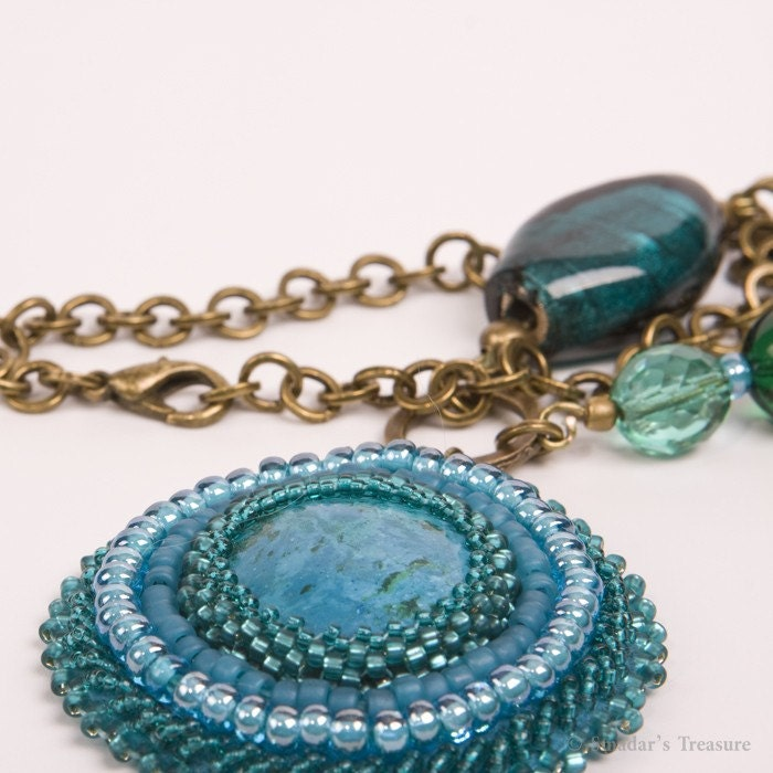 Turquoise, Teal and Green Pendant on Brass Chain Necklace