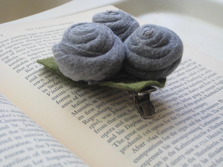 Grey Flower Clip