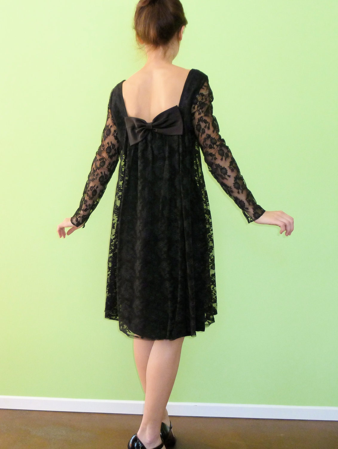 Black Lace Babydoll Dress Vintage 1960s Cocktail Mini By