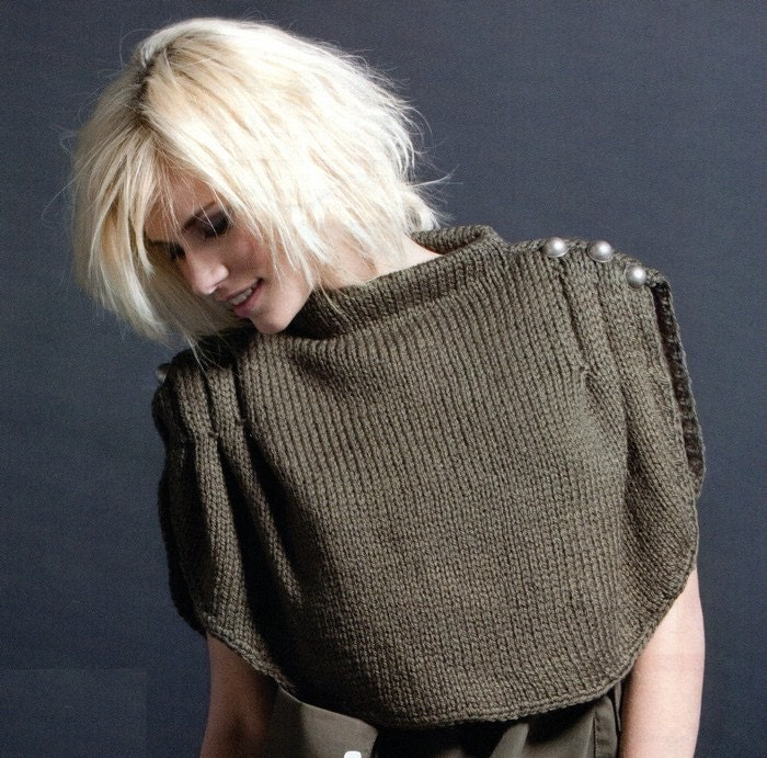 Shrug Knitting Patterns For Beginners : ENGLISH Trendy Knitted Army Shrug Easy by AliceInCraftyland
