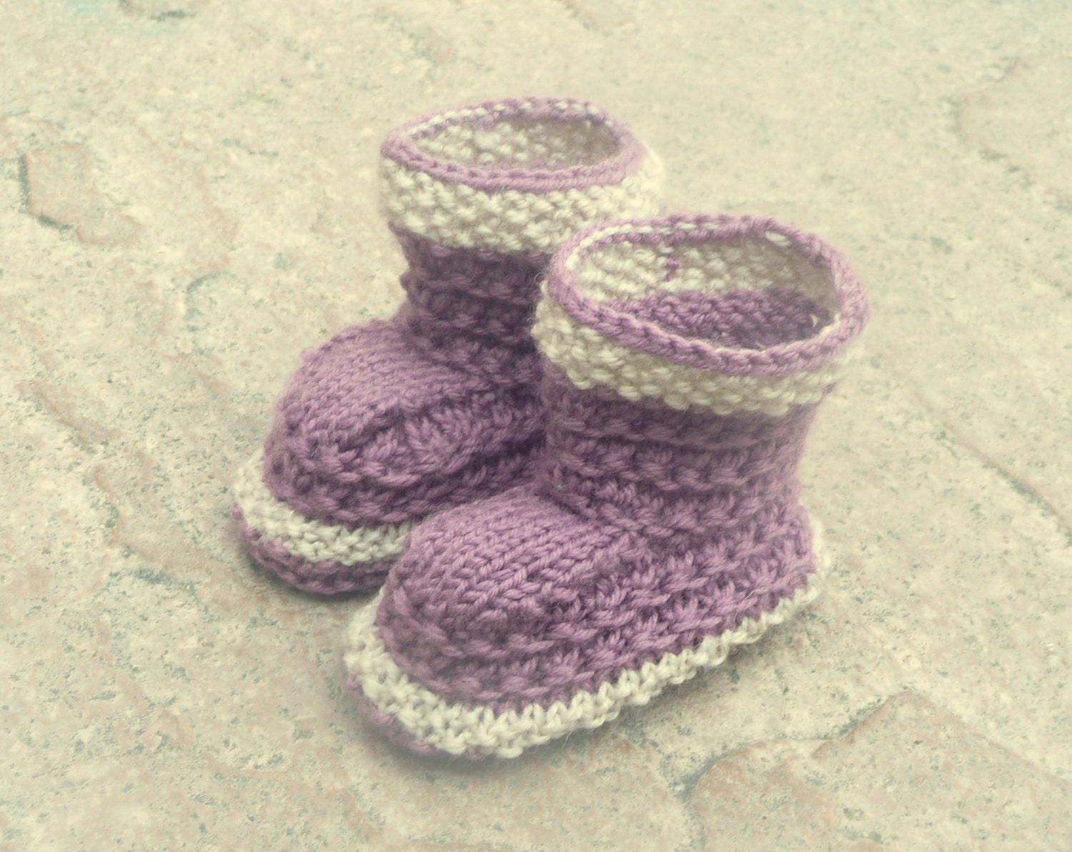 Knitting Patterns For Seamless Baby Booties : Knitting PATTERN BABY Booties Simple Seamless Lilac by ceradka