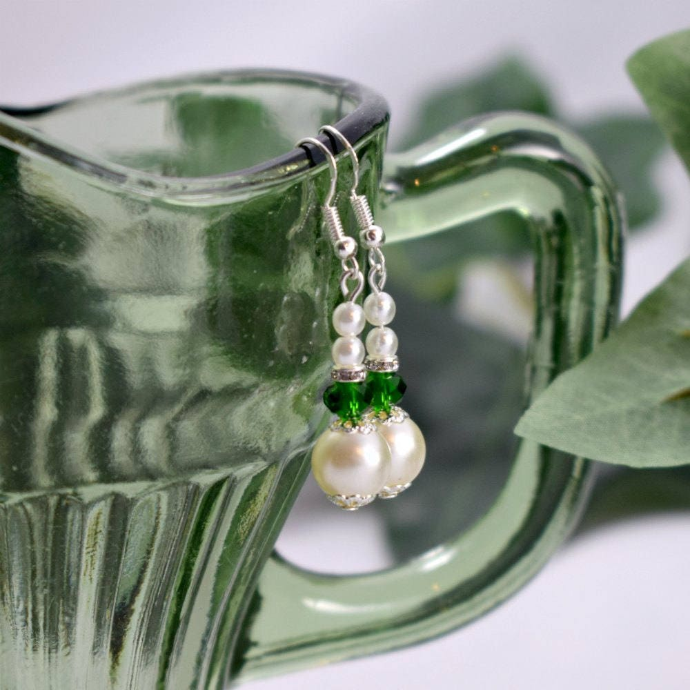 Emerald Green and White Pearl Earrings Brides Bridesmaids Prom
