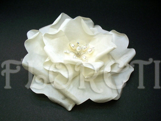Snow Bride Large Ivory Rose Wedding Dress Flower Pin w/ Pearls Crystals by Floreti from etsy.com