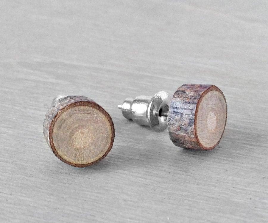 wood stud earrings small wooden earrings by