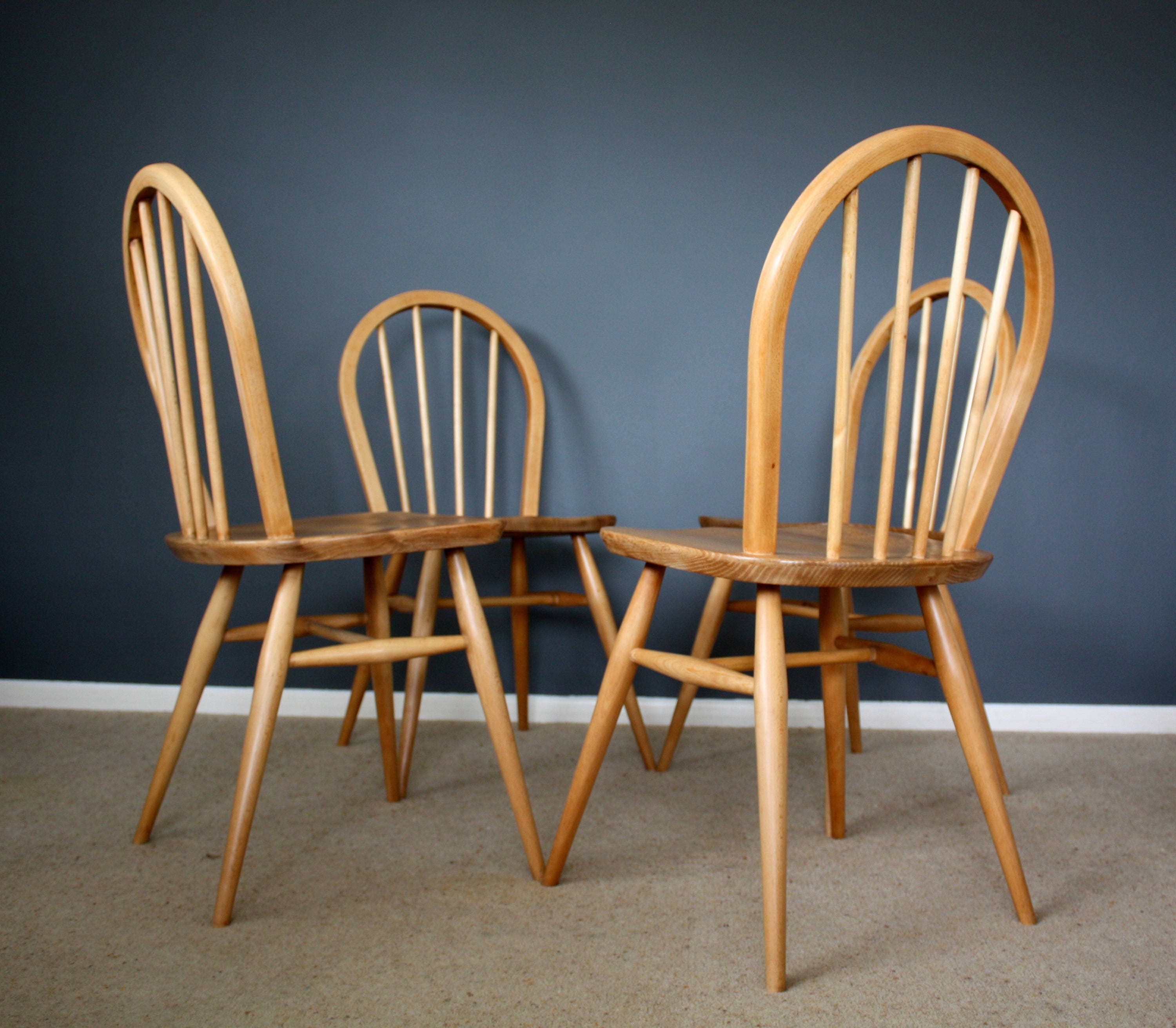 Stunning Vintage Ercol Windsor Dining Chairs Retro Mid century 50s 60s 70s