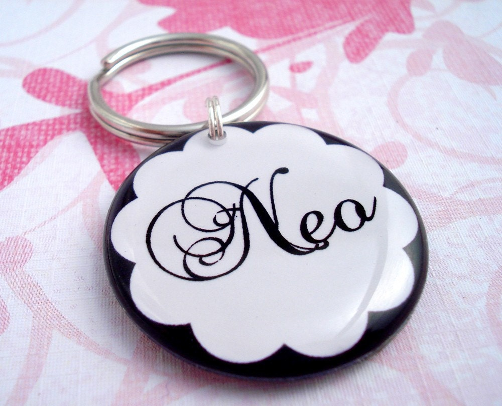 ON SALE  Fancy Black & White Double Sided Pet Tag by HappyTags from etsy.com