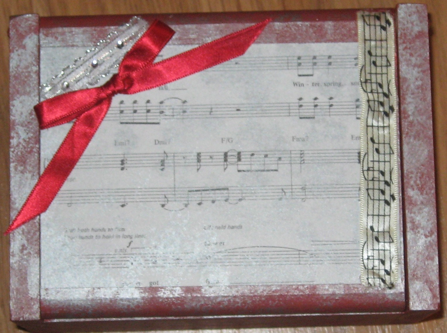 Red and Silver Music Themed Box