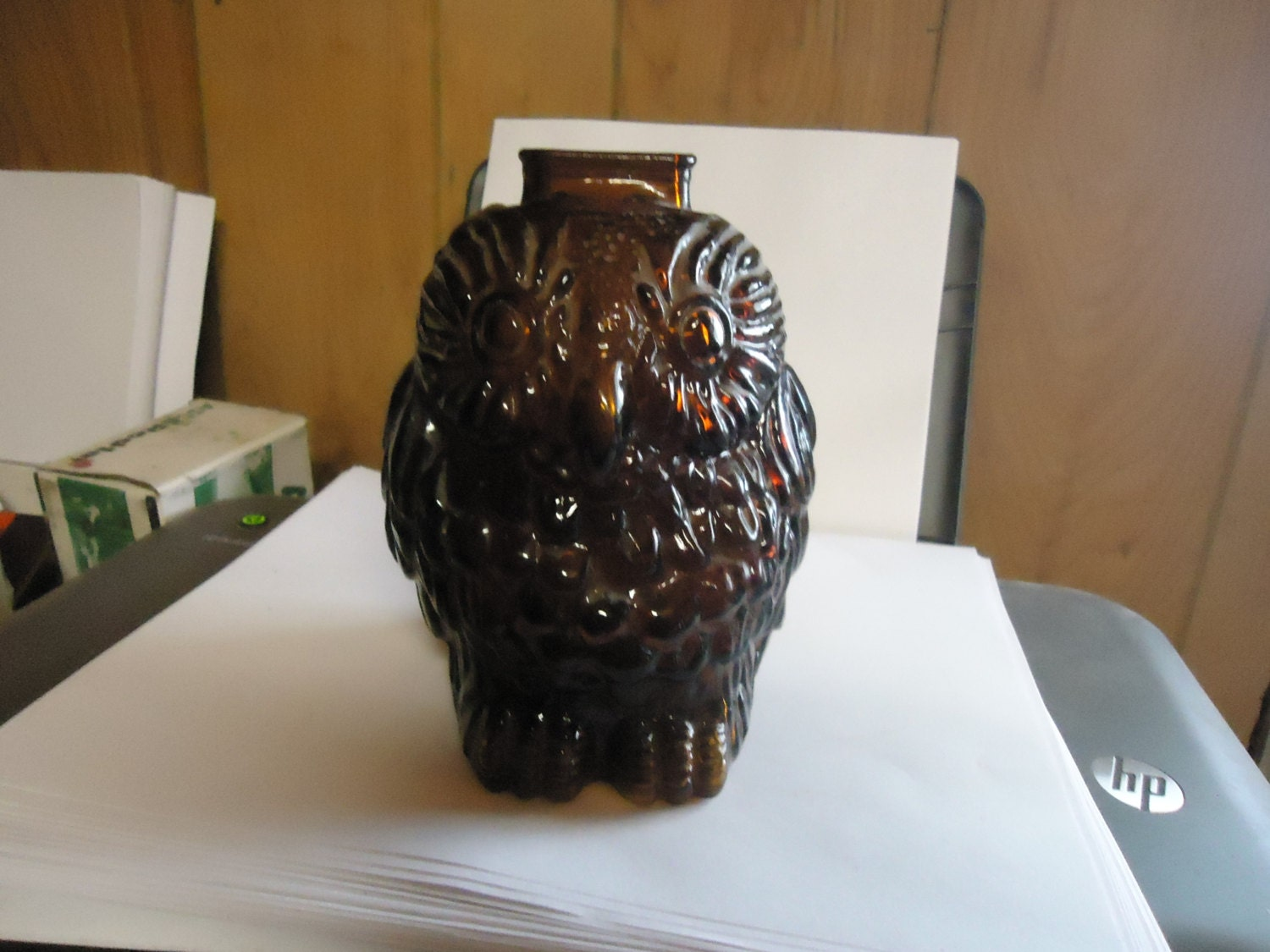 Vintage wise old owl glass brown piggy bank by kennysantiques - Wise old owl glass bank ...