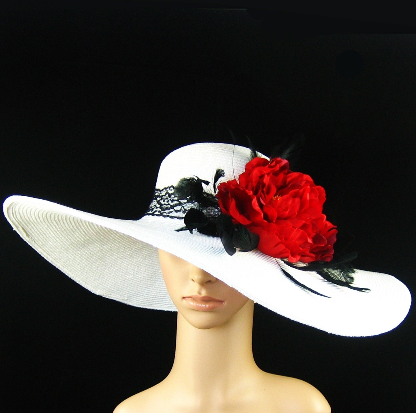 white red derby hat with lace $69.97 AT vintagedancer.com