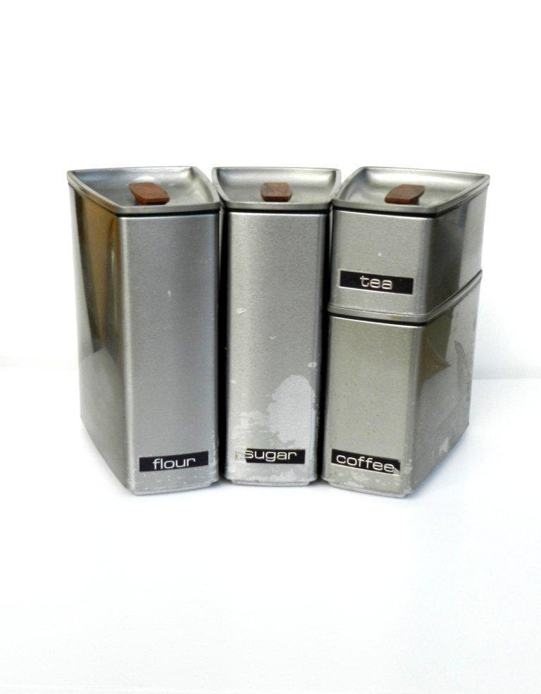 Vintage stainless steel canister set by by thevintageshopkeeper
