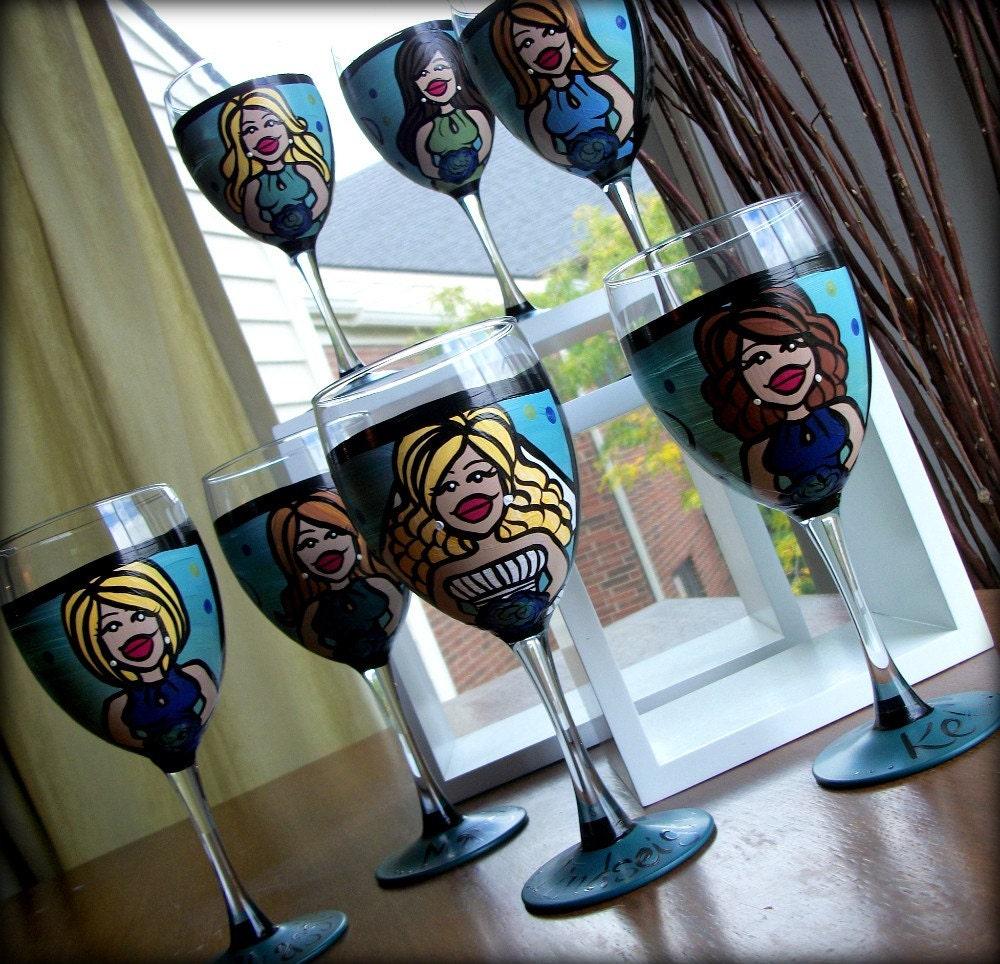 Bridal Party (7 glasses) Custom Hand Painted Wedding Glassware