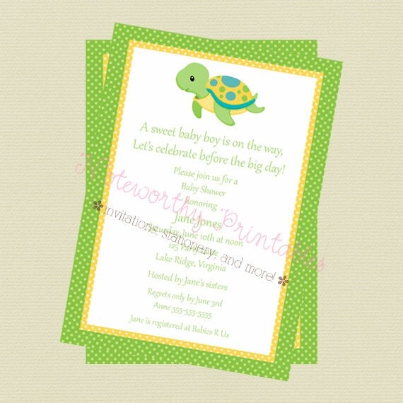 printable turtle baby shower invitation by noteworthy printables