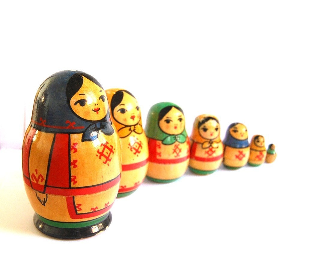 Vintage nesting doll matryoshka Soviet Union by spacejam on Etsy from etsy.com