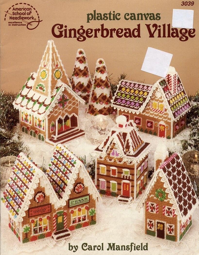 Plastic canvas gingerbread village christmas by ladydiamond46