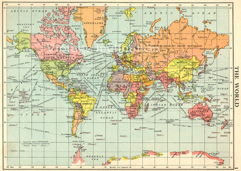 Vintage Map World Globe Earth Original 1950 by VintageInclination