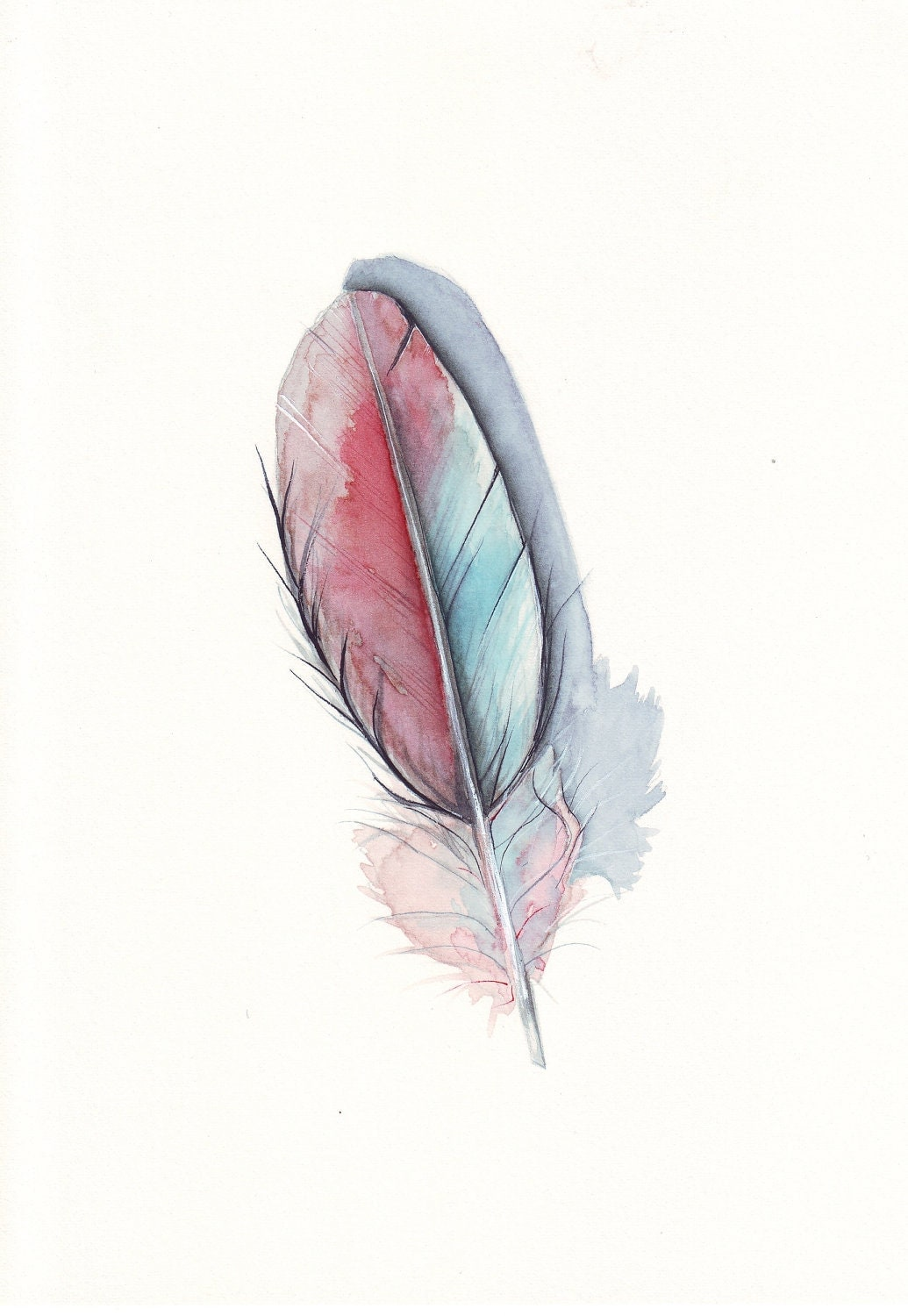 Feather  Burgundy  and Teal 2 - fine art print of watercolor painting