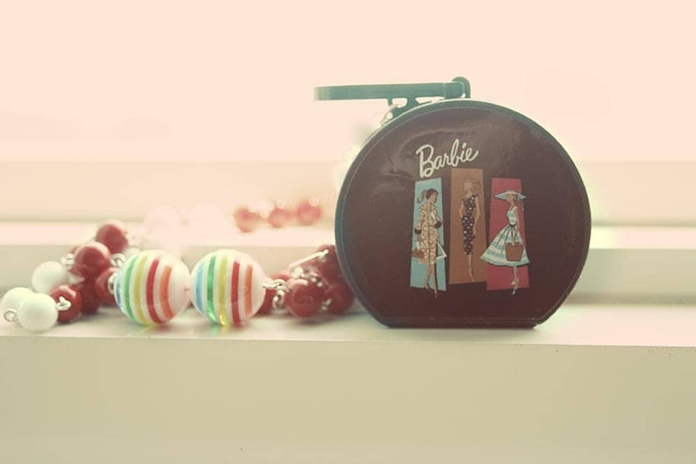 Barbie Hat Box with mini doll necklace