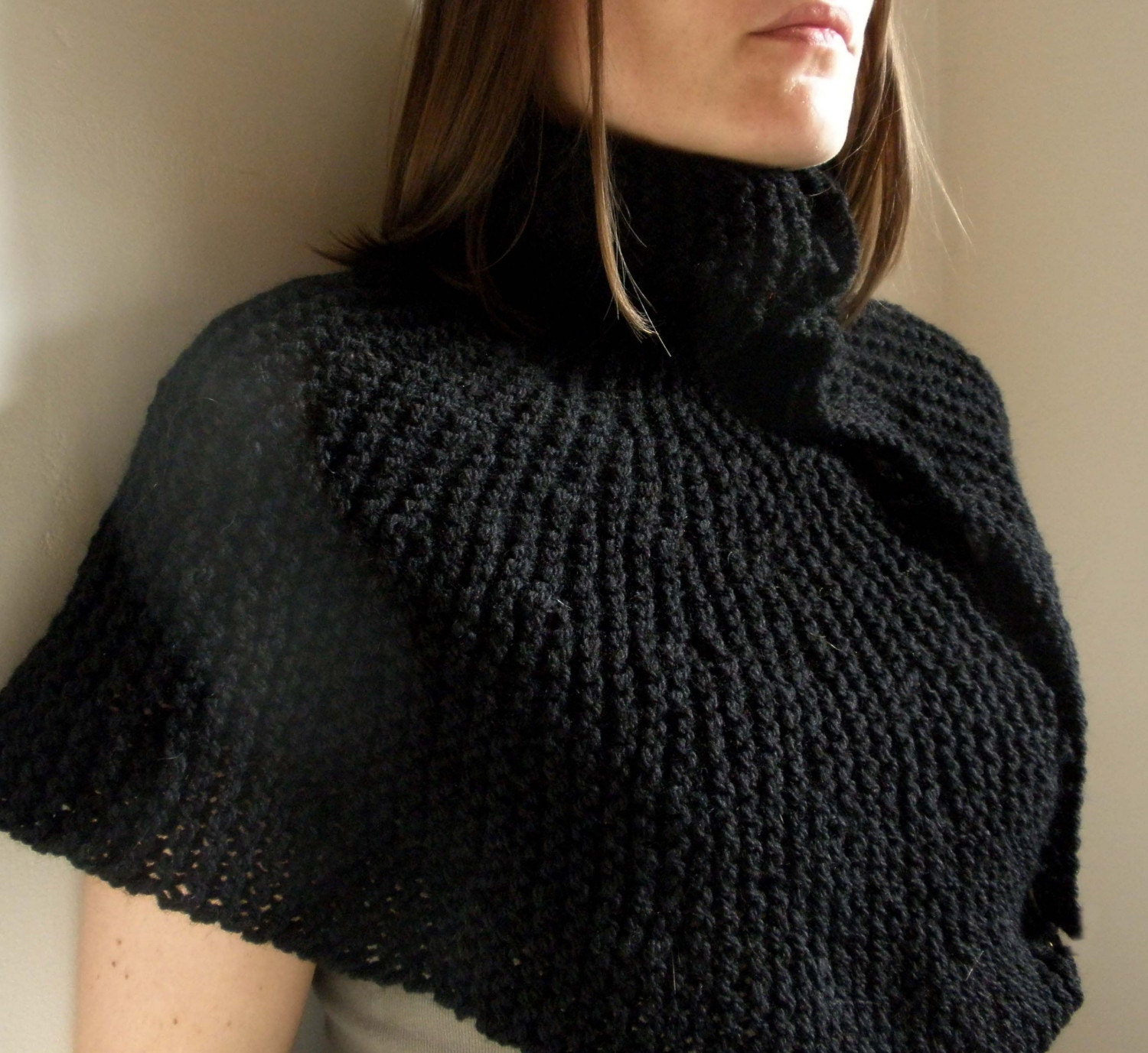 Turtle Neck Poncho by Moocowhandknits