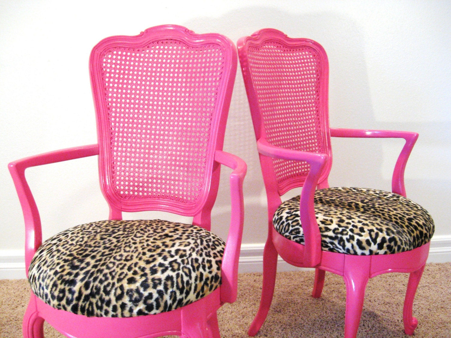 Fabulous HOLLYWOOD REGENCY Pair of Vintage HOT PINK French ARM CHAIRS