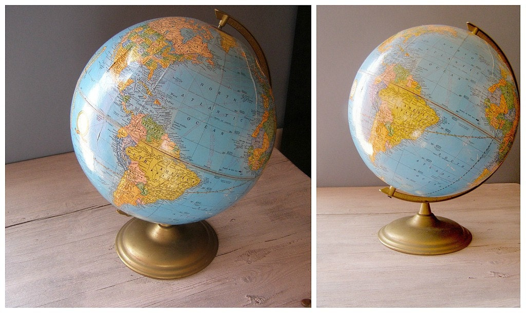 Vintage Globe, Cram's Imperial World Globe with metal base - MeshuMaSH