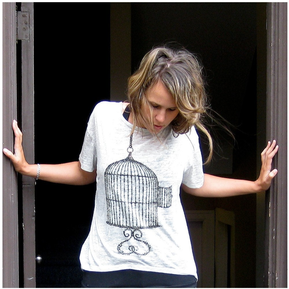 One That Got Away - women's XL - birdcage print on heather oatmeal