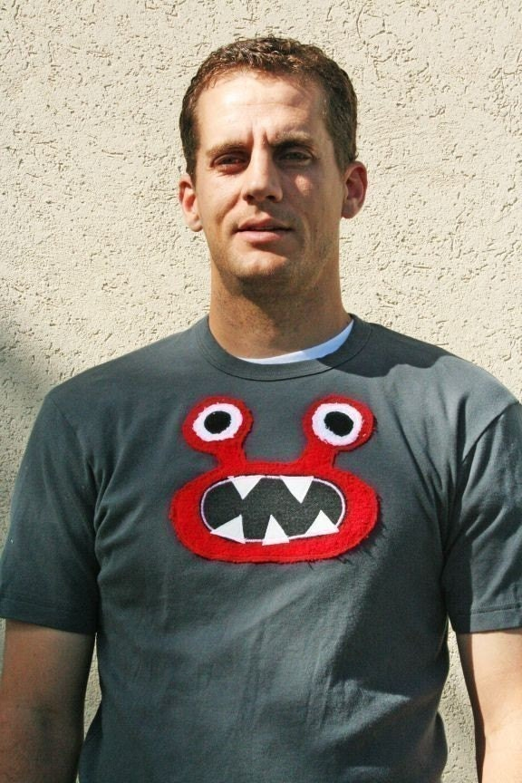 Bernard in Red Monster on S/S Asphalt tee