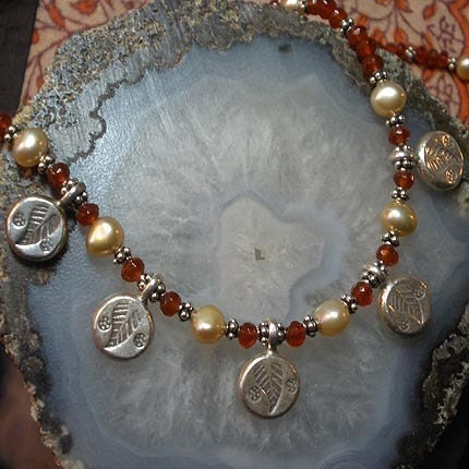 Carnelian and Pearl Charm Necklace