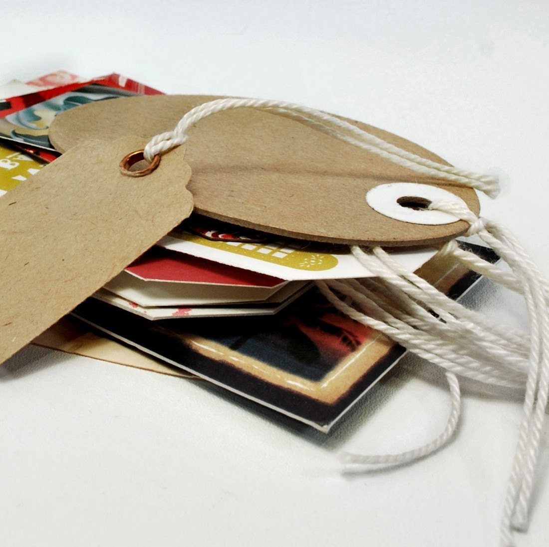 Gift Tags from Upcycled Chip Board and Recycled Card Stocks