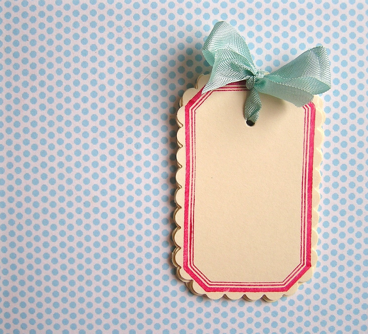 Raspberry Pink Scalloped Tags