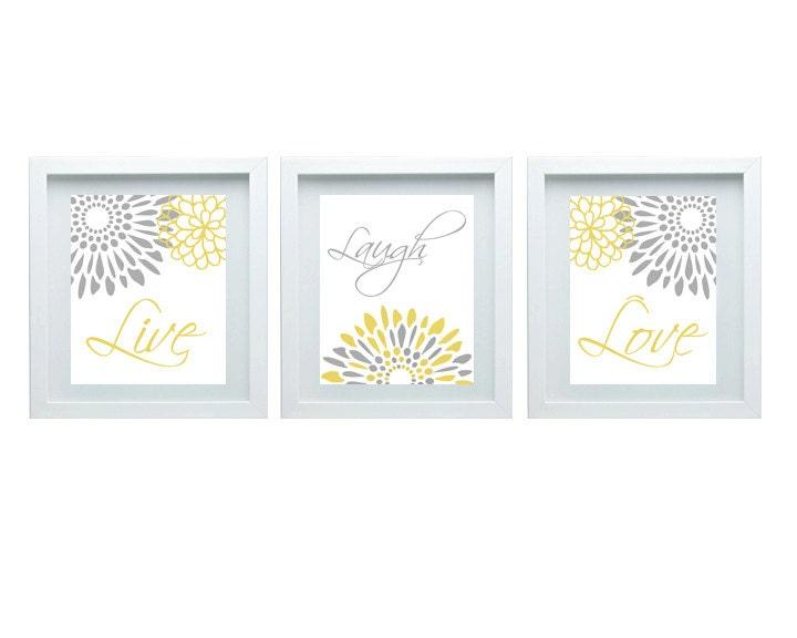 Live laugh love decor modern flower print by fmdesignstudio for Bathroom design for 8x10 room