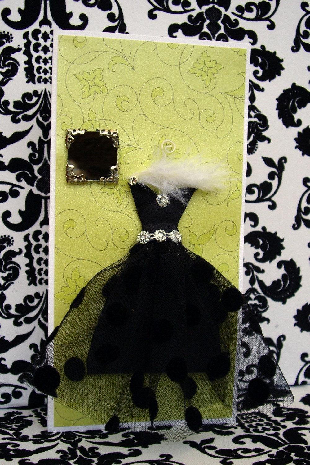 SALE Ebony Personalised Dress Card  / Handmade Greeting Card