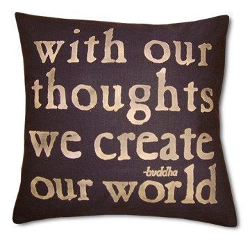 With Our Thoughts Black Pillow, hemp
