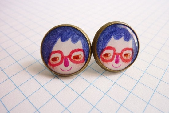 I Love Eyeglasses - Round Base Post Stud Earrings