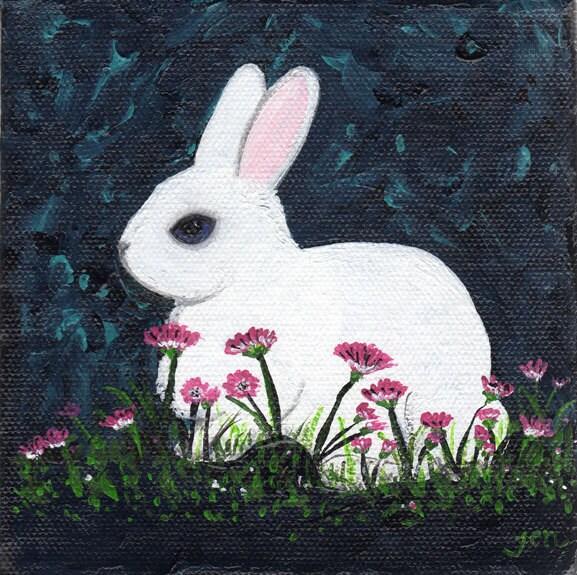 White rabbit painting - photo#28