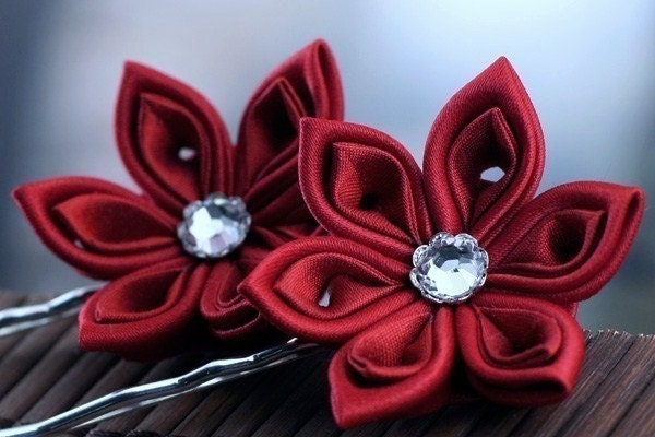 Ruby Red - Kanzashi Flower Bobby Pins