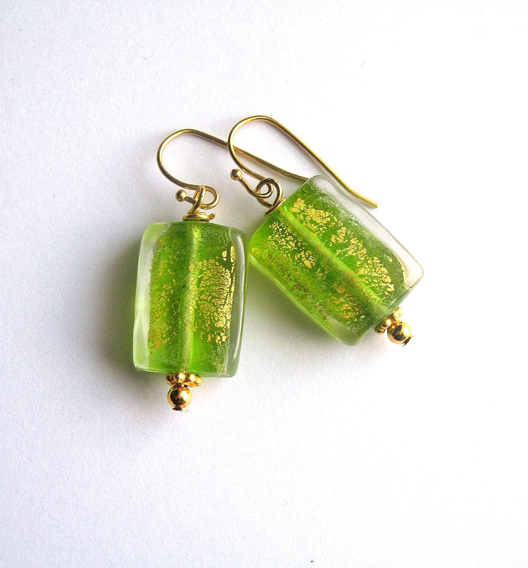 Green, Gold Earrings, Foil Glass, Vermeil