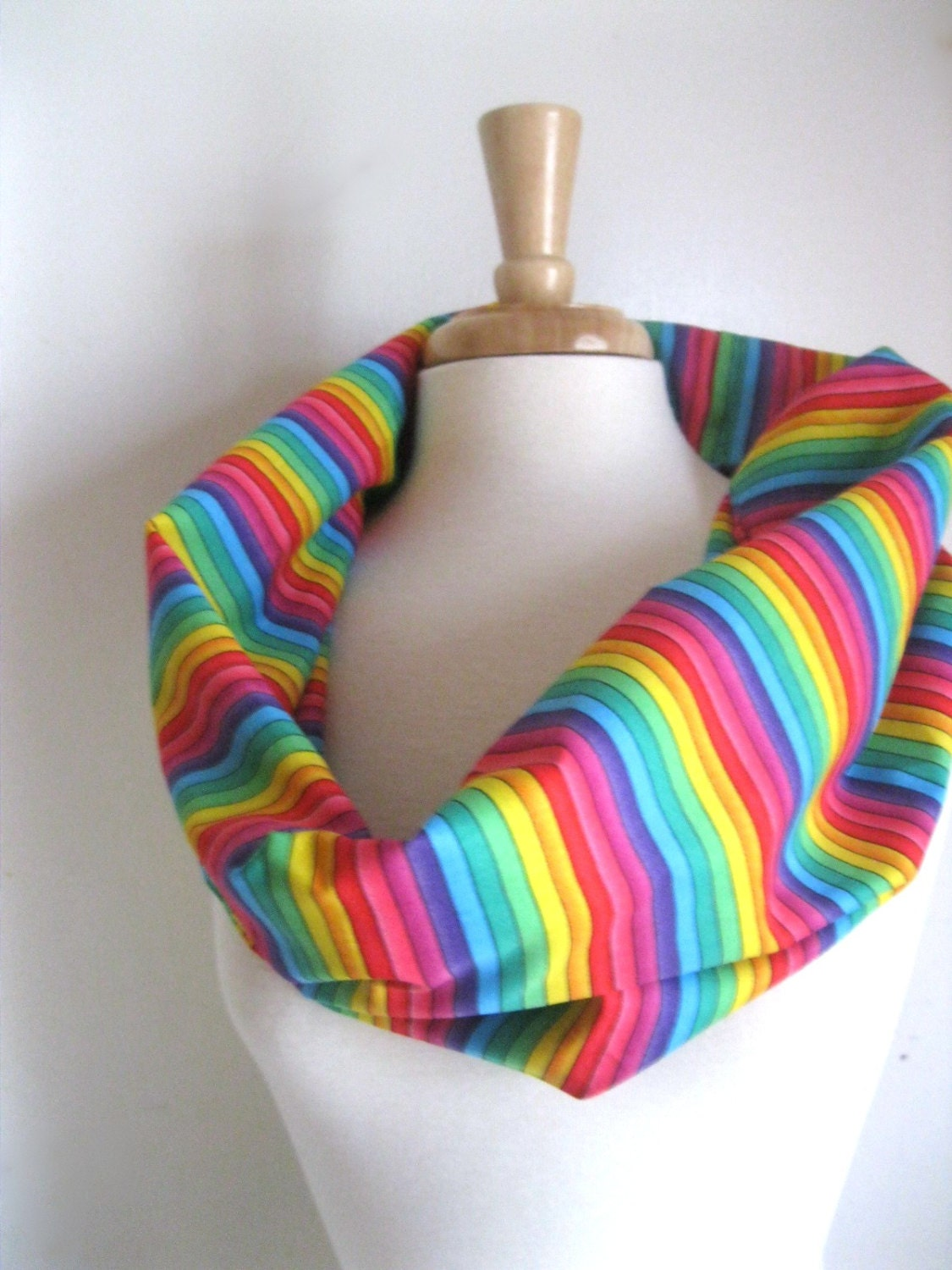 Rainbow Pride Infinity Scarf in Circle Scarf ROYGBIV Rainbow Brite  Lightweight Cotton Infinity Scarf - SewEcological