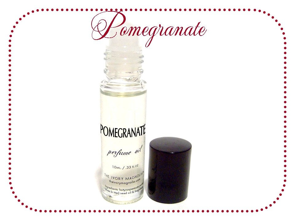 Pomegranate Super-Fragrant Perfume Oil Roll On -- VEGAN -- The Ivory Magnolia (tm)