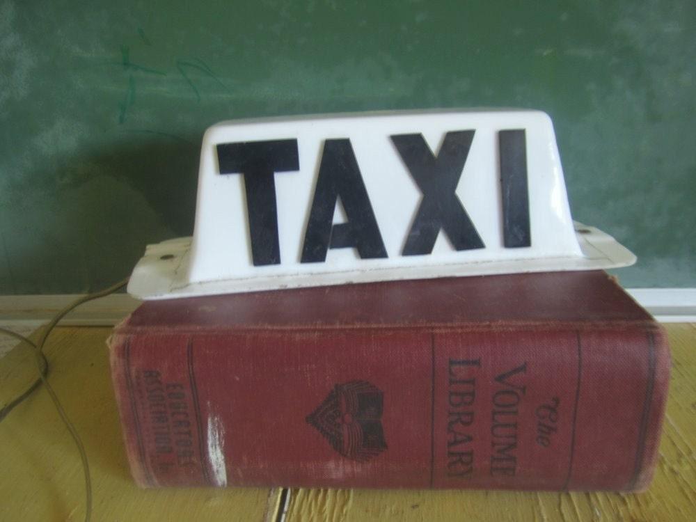 vintage electric taxi cab car topper sign by. Black Bedroom Furniture Sets. Home Design Ideas