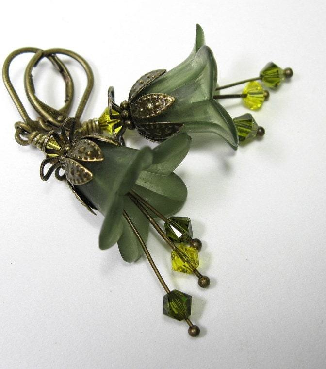 Olivine Lucite and Swarovski Flower Earrings