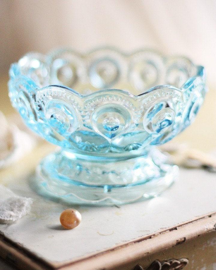 Blue Glass Bowl. Pretty vintage candy dish.