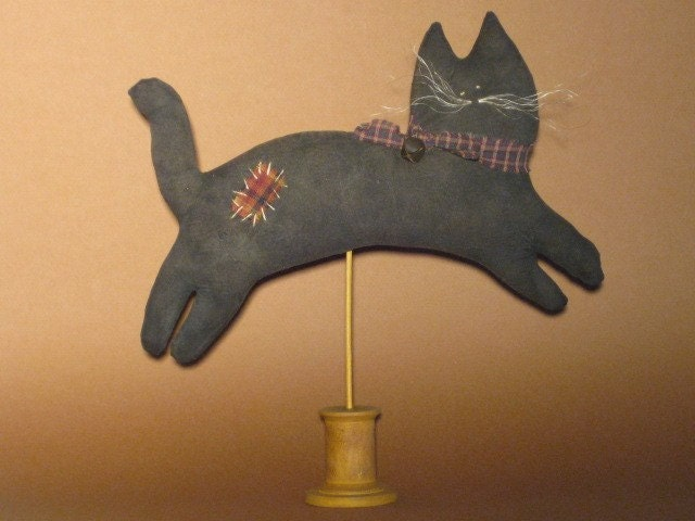 Primitive Black Cat on Stand