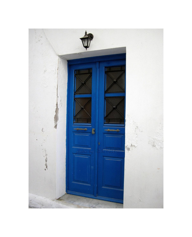 Blue door - Greece islands photo - travel photography - Mediterranean decor -summer - alekaki