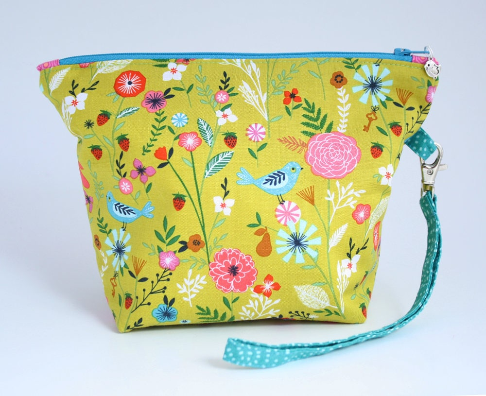 Bird print project bag zipped bag pouch for knitting or crochet