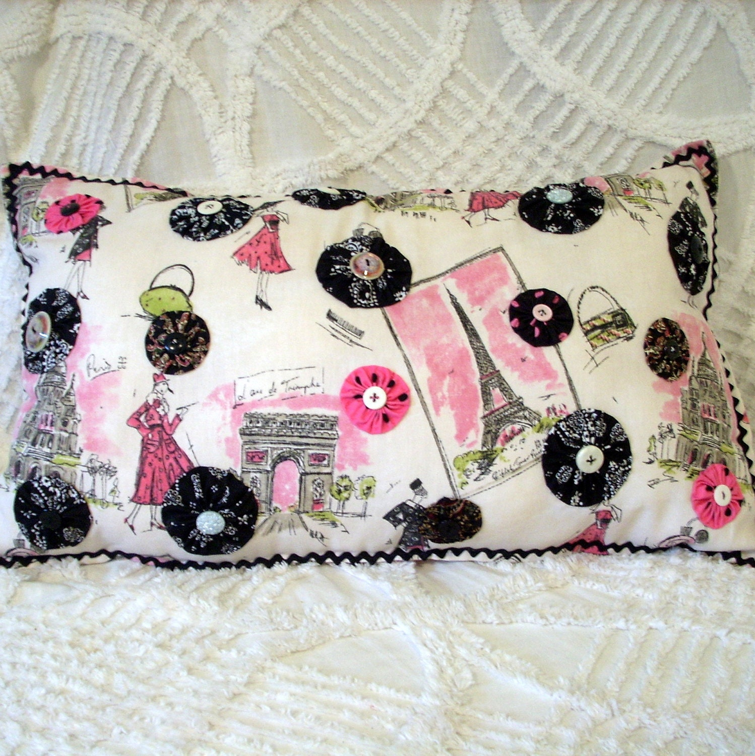 Paris theme pillow handmade bedroom decor by for Handmade decorative items for bedroom