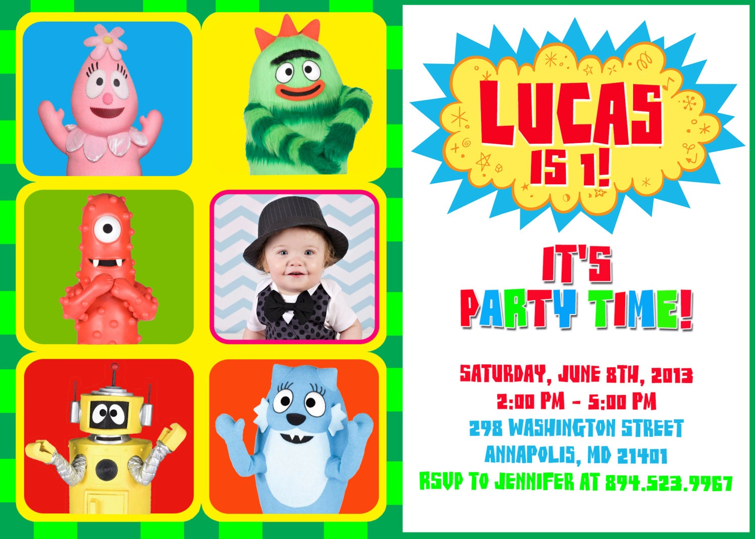 Yo Gabba Gabba Invitations Custom Birthday Party P O Invites Diy F Bc