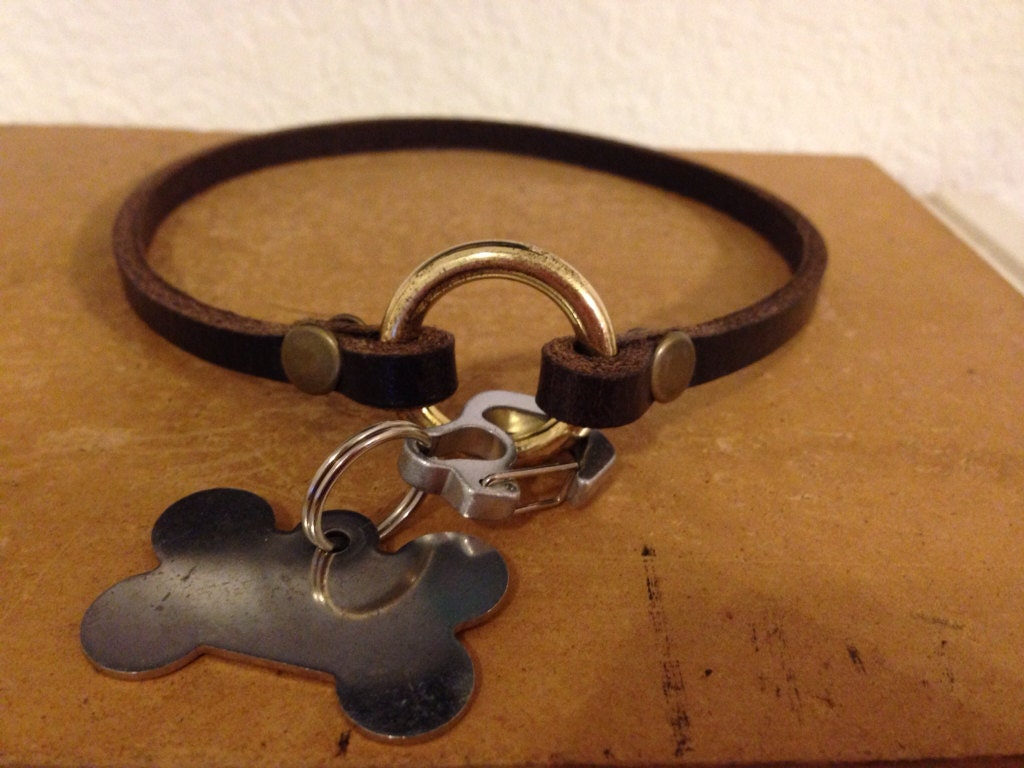 Thin Rolled Leather Dog Collars
