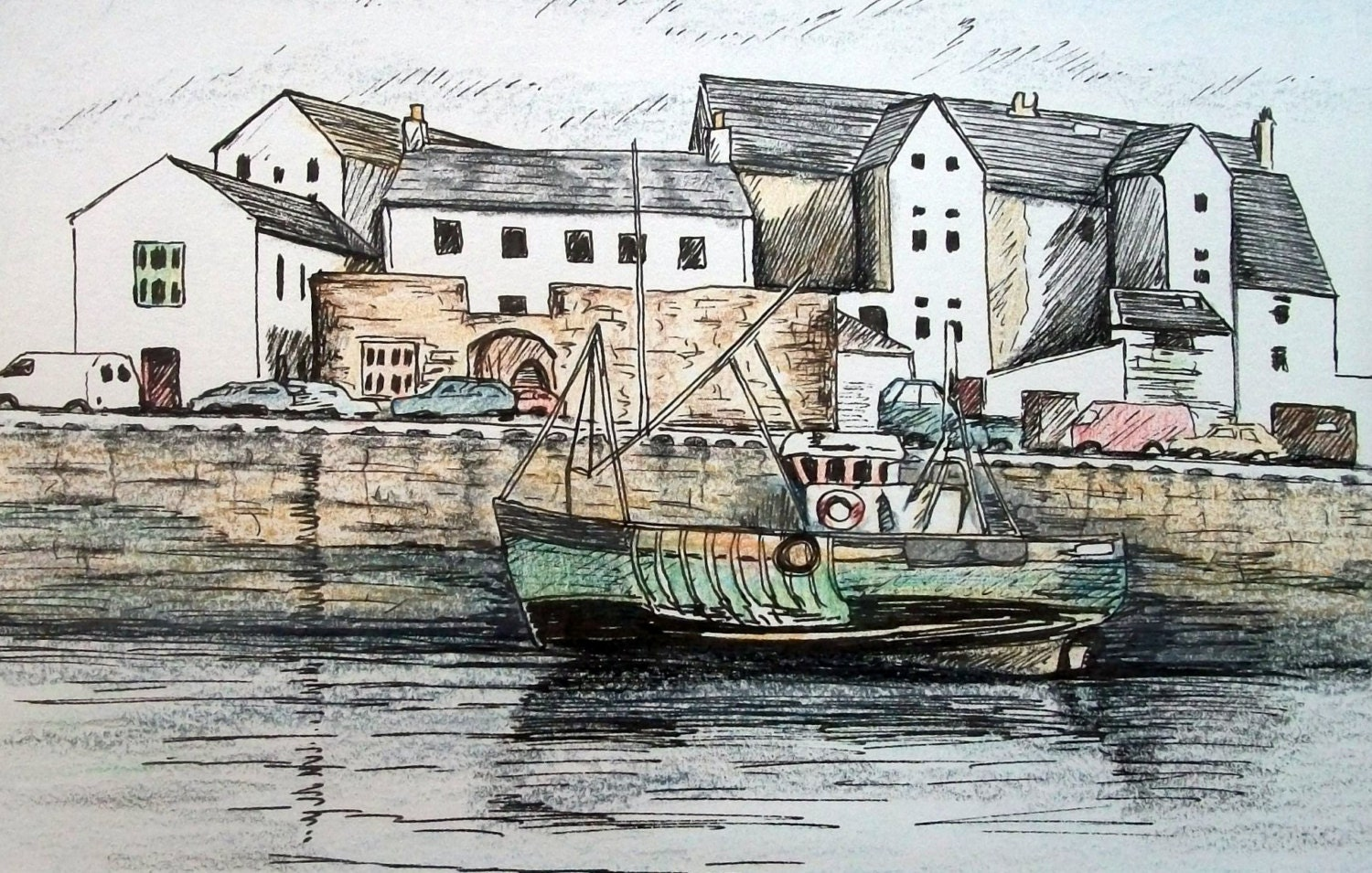 "Peel Harbour - Isle of Man - ACEO note card  - 4.25"" x 5.5"" card - StitchMikki"